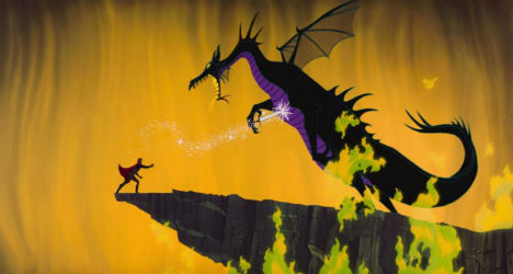 Maleficent gets shanked by the Prince in Sleeping Beauty.